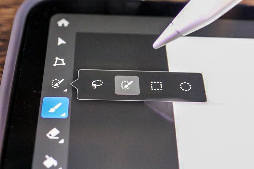 iPad版Photoshopのツールバーを長押しもしくはダブルタップ